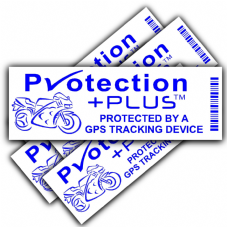 5 x Motorbike GPS Security Stickers-PP Design-Blue on White-Tracker Device-Motorcycle Bike Warning Tracking Signs